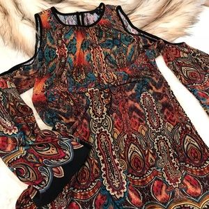 ICE Colorful Paisley Cold Shoulder Shift Dress